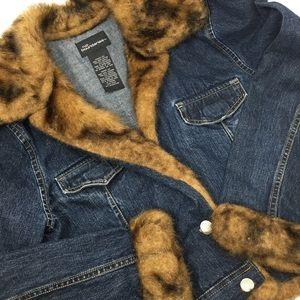 Faux Fur Jean Jacket Juniors M Womens Small